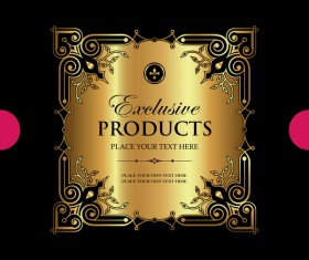 Luxury ornamental gold label vector material 02