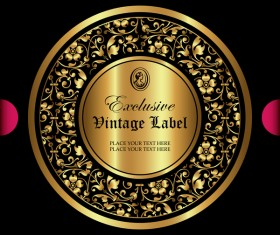 Luxury ornamental gold label vector material 03