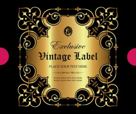 Luxury ornamental gold label vector material 04