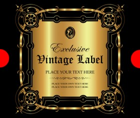 Luxury ornamental gold label vector material 06
