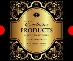 Luxury ornamental gold label vector material 07