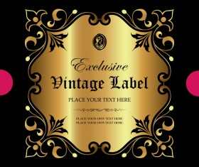 Luxury ornamental gold label vector material 11