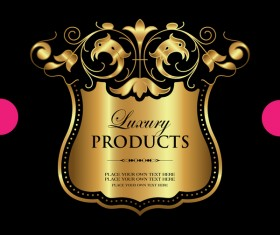 Luxury ornamental gold label vector material 12