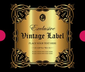 Luxury ornamental gold label vector material 13