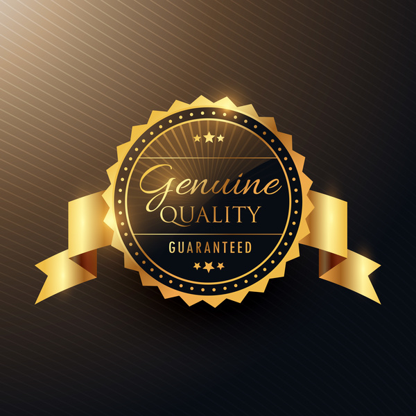 genuine quality award golden label badge design with ribbon