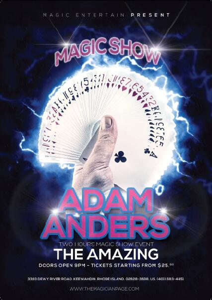 Magician poster psd template free download