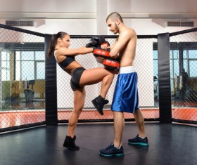 Male sparring and female boxer Stock Photo