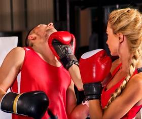 Men and women boxer game Stock Photo