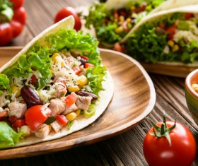 Minced meat and vegetables tortilla Stock Photo