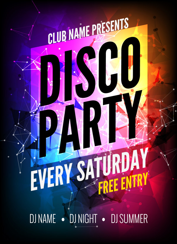 Modern Disco Party Poster Template Vector   Vector Cover Free