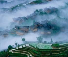 Mountain village households Stock Photo