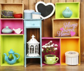 Multifunctional color bookshelves Stock Photo 08