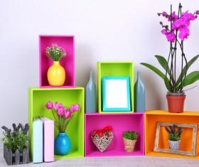 Multifunctional color bookshelves Stock Photo 11