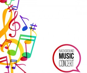Musicbackground and colored musical notes vector 01