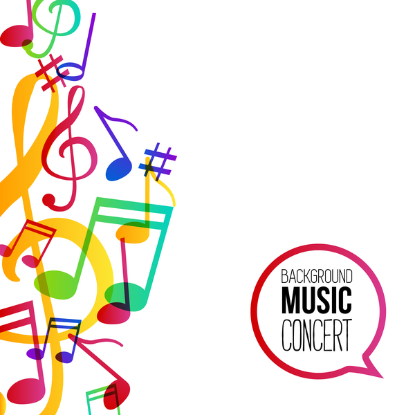 musicbackground and colored musical notes vector 01 vector rh freedesignfile com Free Clip Art Music Notes Free Clip Art Music Notes