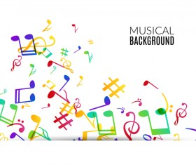 Musicbackground and colored musical notes vector 02