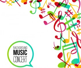 Musicbackground and colored musical notes vector 03