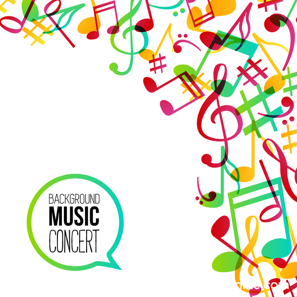 musicbackground and colored musical notes vector 03 free download