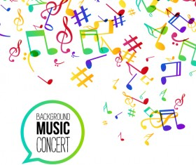 Musicbackground and colored musical notes vector 05