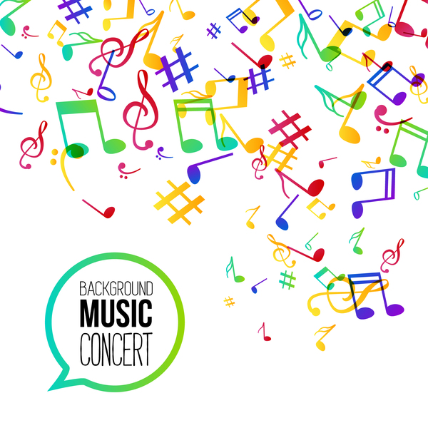 musicbackground and colored musical notes vector 05 free download