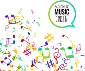 Musicbackground and colored musical notes vector 06