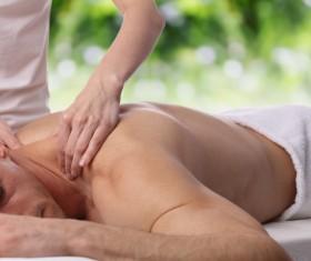 Neck massage technique Stock Photo