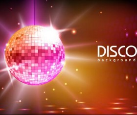 Neon ball with disco background vector 01