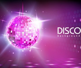 Neon ball with disco background vector 02