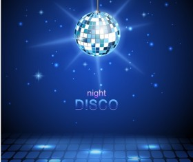 Neon ball with night disco blue background vector