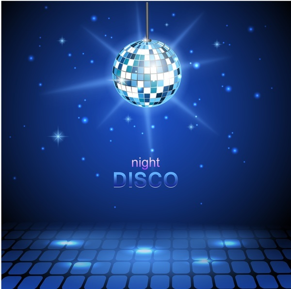 neon ball with night disco blue background vector free download