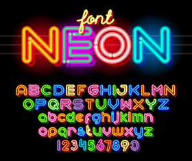 Neon font colorful vector