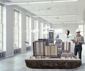 New Development Project Modern City Model Stock Photo 10