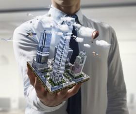 New Development Project Modern City Model Stock Photo 12