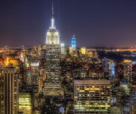 Night bright lights of Manhattan Stock Photo