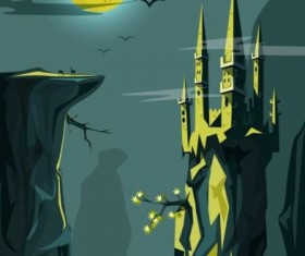 Night landscape with mysterious castle vector