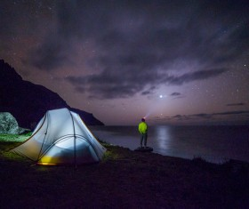 Night sky and camping tents Stock Photo