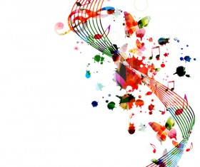 Notes and butterflies music background vector 01