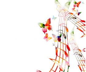 Notes and butterflies music background vector 02