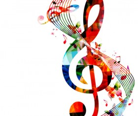Notes and butterflies music background vector 03