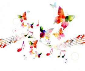 Notes and butterflies music background vector 04