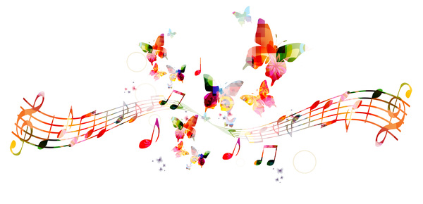 Notes and butterflies music background vector 04 free download