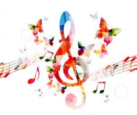 Notes and butterflies music background vector 05