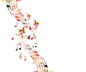 Notes and butterflies music background vector 06