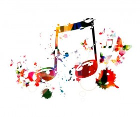 Notes and butterflies music background vector 07