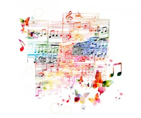 Notes and butterflies music background vector 08