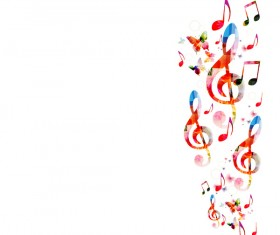Notes and butterflies music background vector 09
