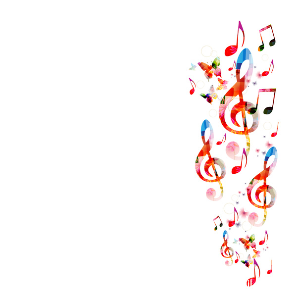 Notes and butterflies music background vector 09 - Vector ...