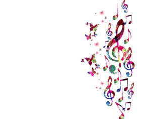 Notes and butterflies music background vector 10