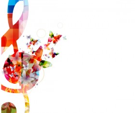 Notes and butterflies music background vector 11