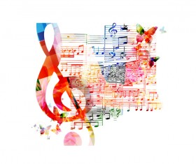 Notes and butterflies music background vector 12